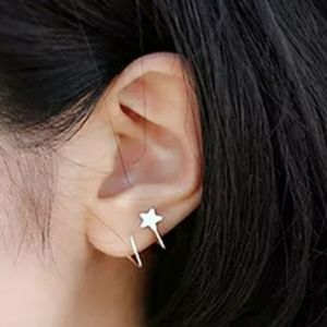 Star Spiral Ear Stud- silver